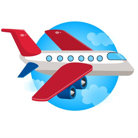 Color image of cartoon airplane in the sky on a white background. Vector illustration of transport for kids. Иллюстрация