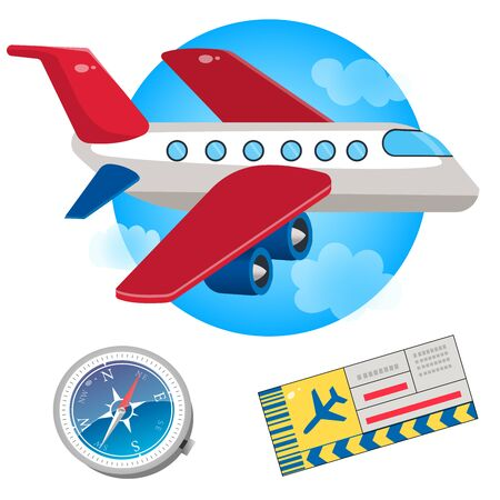 Color image of cartoon airplane, compass and plane ticket on a white background. Vector illustration set. Иллюстрация