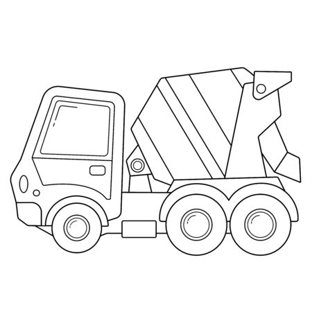 Coloring Page Outline Of cartoon concrete mixer. Construction vehicles. Coloring book for kids.
