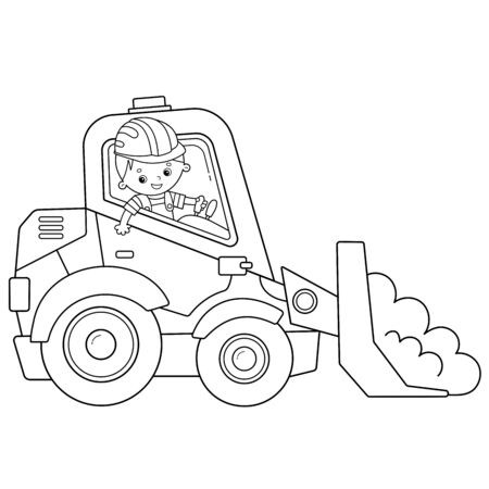 Coloring Page Outline Of cartoon bulldozer. Construction vehicles. Coloring book for kids.