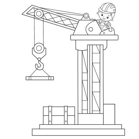 Coloring Page Outline Of elevating crane. Construction vehicles. Coloring book for kids.