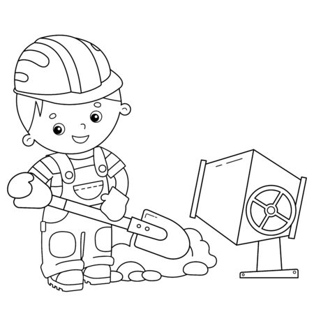 Coloring Page Outline of cartoon builder with shovel and concrete mixer. Profession. Coloring book for kids. Çizim