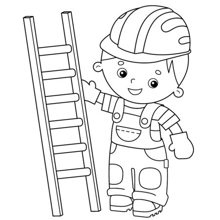 Coloring Page Outline of cartoon builder with step ladder. Profession. Coloring book for kids.