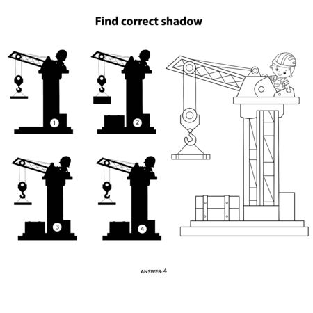 Puzzle Game for kids. Find correct shadow. Elevating crane. Construction vehicles. Coloring book for children. Stock fotó - 133966353