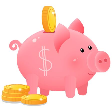 Color image of cute piggy bank or moneybox with coins on white background. Money and finance. Vector illustration.