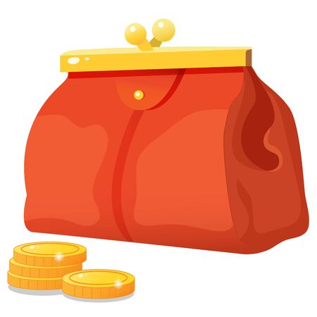 Color images of red wallet with coins on white background. Money and finance. Vector illustration set.
