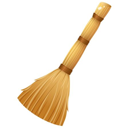 Color image of broom on white background. Tools for cleaning and housework. Vector illustration.