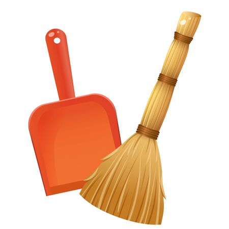 Color image of broom with dustpan on white background. Tools for cleaning and housework. Vector illustration.