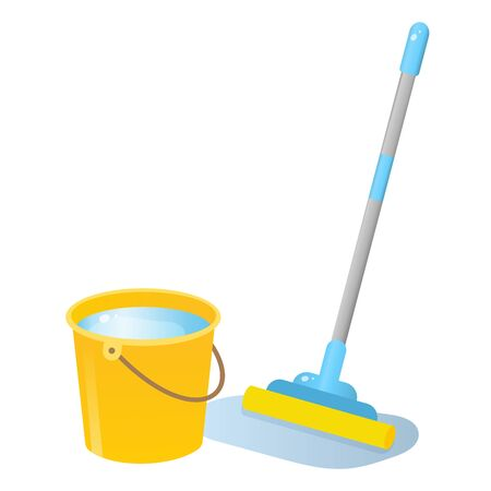 Color image of mop with bucket of water on white background. Tools for cleaning and housework. Vector illustration. Stock fotó - 133966374