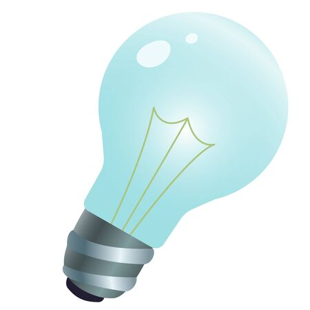Color image of light bulb on white background. Electrical appliance. Vector illustration.