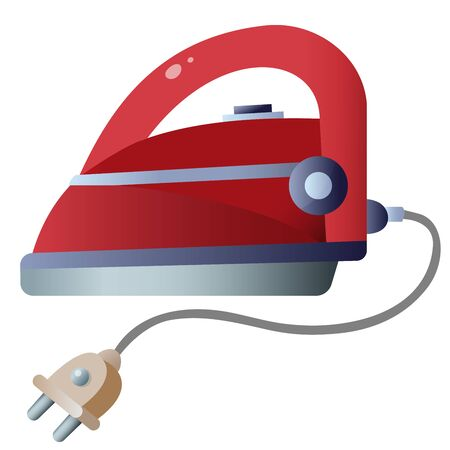 Color image of red iron on white background. Electrical goods and household equipment. Vector illustration.  イラスト・ベクター素材