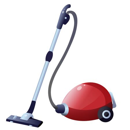 Color image of vacuum cleaner or hoover on white background. Tools for cleaning and housework. Household equipment. Vector illustration.