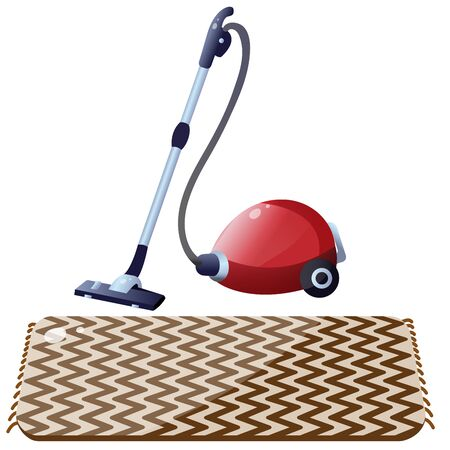 Color image of vacuum cleaner with carpet on white background. Tools for cleaning and housework. Household equipment. Vector illustration.