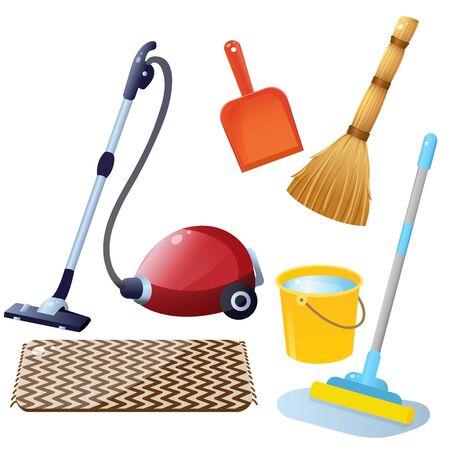 Herramientas para limpieza y quehaceres domésticos. Imágenes en color de aspiradora con alfombra, trapeador con balde de agua, escoba con pala para recoger basura sobre fondo blanco. Conjunto de ilustración vectorial. Ilustración de vector