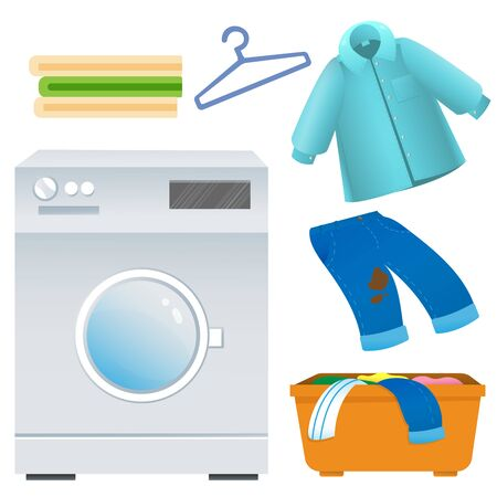 Color image of washing machine with clothes and linen on white background. Laundry and housework. Household equipment. Vector illustration set. Çizim