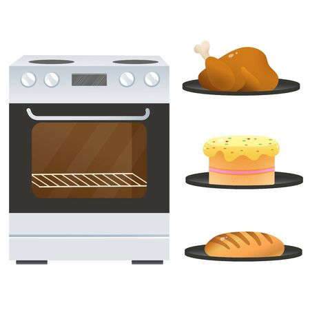 Color image of electric oven or stove with platters of fried chicken, of cake and bread on white background. Kitchen and cooking. Household equipment. Vector illustration set. Vector Illustratie