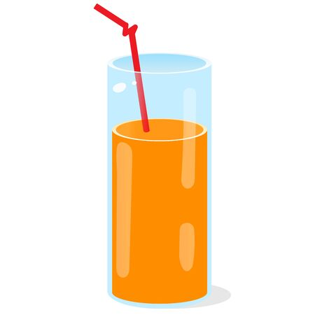 Color image of glass of orange juice with a straw on white background. Food and meals. Vector illustration.