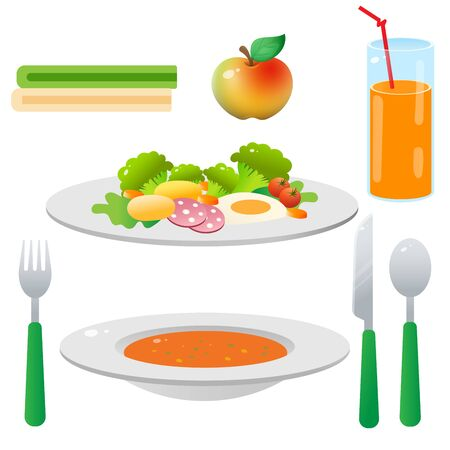 Color image of portion lunch or dinner on white background. Food and meals. Dishes and crockery. Vector illustration set. Illustration