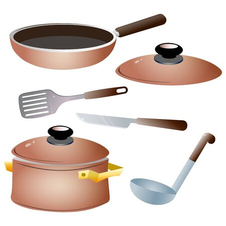 Set of kitchen dishes. Color images of pan, kettle, knife,  serving spoon and skillet on white background. Vector illustration.