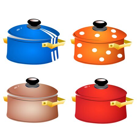 Set of kitchen dishes. Color images of colorful pans on white background. Vector illustration.