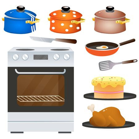 Color images of electric oven or stove with set of dishes on white background. Kitchen and cooking. Household equipment. Vector illustration. Ilustração