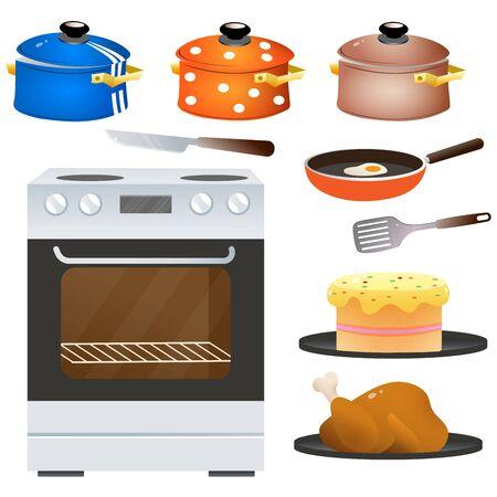 Farbbilder von Elektroherd oder Herd mit Geschirr auf weißem Hintergrund. Küche und Kochen. Haushaltsausstattung. Vektor-Illustration.