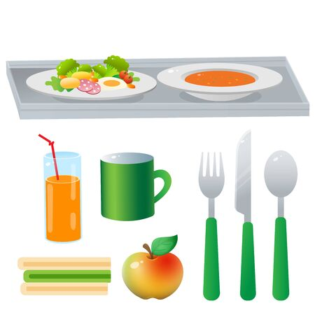 Color image of portion lunch or dinner on white background. Food and meals. Dishes and crockery. Vector illustration set. Illusztráció