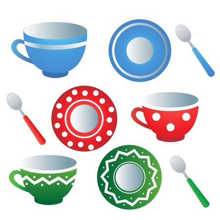 Service à thé de cuisine. Images en couleur de soucoupes, cuillères et tasses colorées sur fond blanc. Vaisselle et vaisselle. Illustration vectorielle.