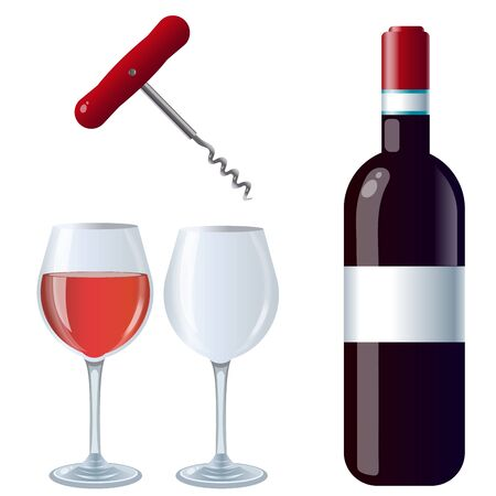 Color images of bottle of red wine with glasses and corkscrew on white background. Food and meals. Vector illustration set.