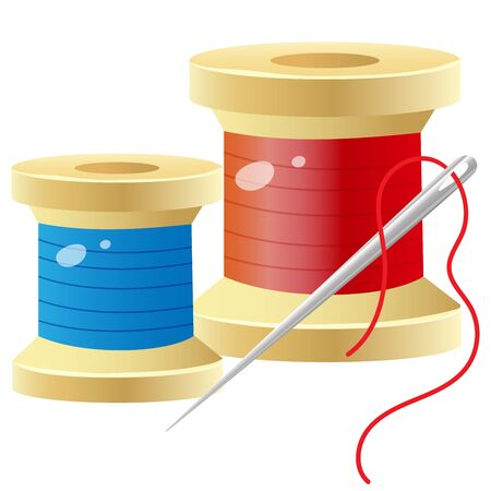 Color images of spools of thread with needle on a white background. Set for sewing. Vector illustration for handcraft.