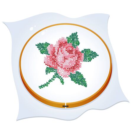 Cross embroidered rose. Color image of hoop with needlework on a white background. Vector illustration for handcraft.