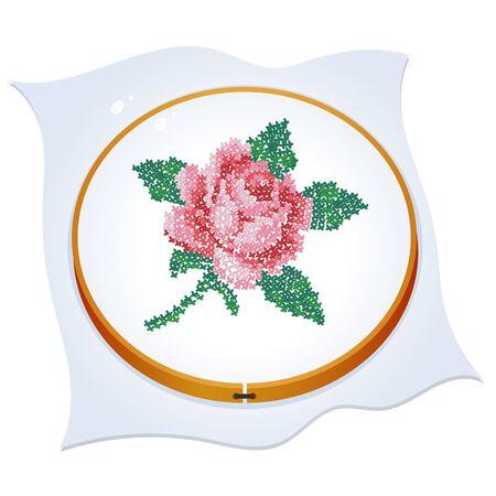 Rose brodée en croix. Image en couleur du cerceau avec des travaux d'aiguille sur un fond blanc. Illustration vectorielle pour l'artisanat.