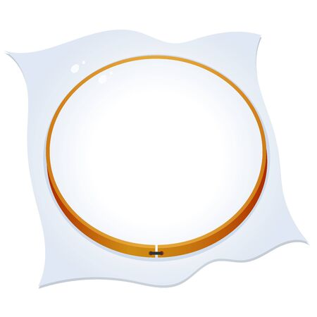 Color image of hoop for embroidery on a white background. Needlework. Vector illustration for handcraft.