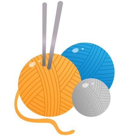 Color image of skeins or balls of yarn with knitting needles on a white background. Vector illustration for handcraft. Illustration