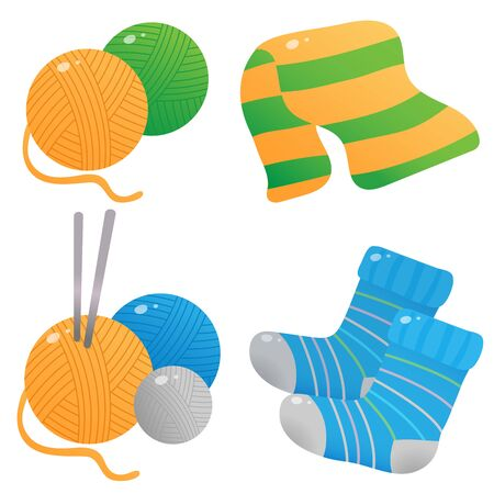 Color image of skeins or balls of yarn with knitting needles on a white background. Knitted socks and scarf. Vector illustration set for handcraft.