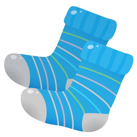 Color image of Knitted wool socks on a white background. Vector illustration set for handcraft.