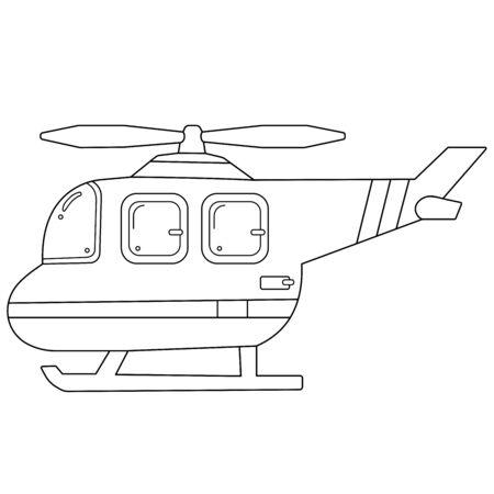 Colorear el contorno de la página del helicóptero de dibujos animados. Imágenes de transporte para niños. Vector. Libro de colorear para niños