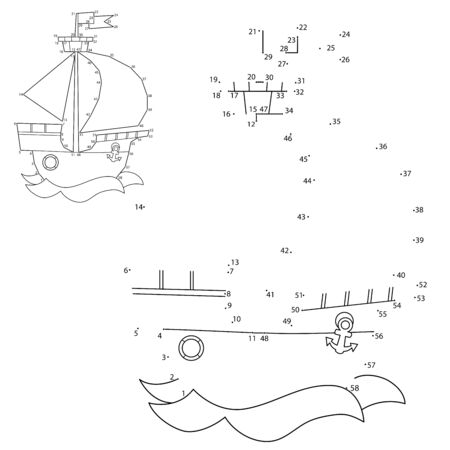 Puzzle Game for kids: numbers game. Cartoon sail ship. Images of transport for children. Coloring book.