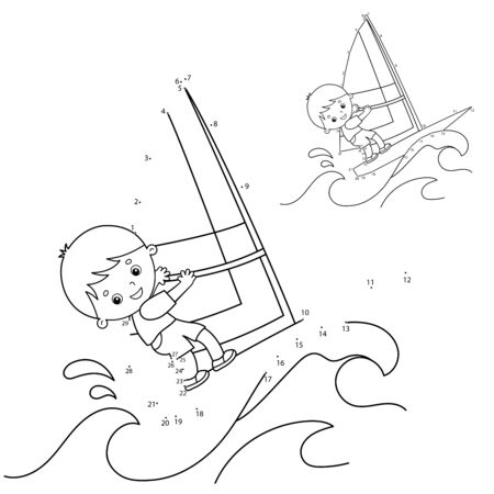 Puzzle Game for kids: numbers game. Cartoon surfer on waves. Windsurfing. Coloring book for children.
