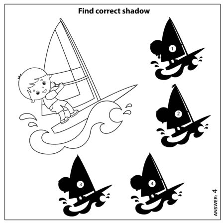 Puzzle Game for kids. Find correct shadow. Coloring Page Outline of cartoon surfer on waves. Windsurfing. Coloring book for children.