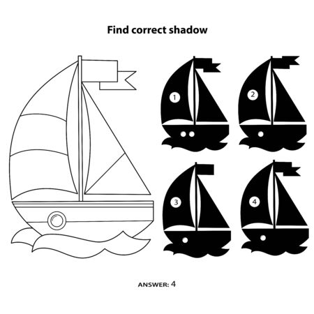 Puzzle Game for kids. Find correct shadow. Coloring Page Outline Of cartoon sail ship. Coloring book for children. Vetores