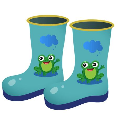 Color image of children's rubber boots with pattern on white background. Outdoors games. Vector illustration.