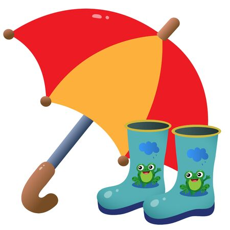 Color image of children's rubber boots with pattern and umbrella on white background. Outdoors games. Vector illustration.