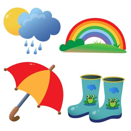 Color images of children's rubber boots with pattern, umbrella and rainbow on white background. Outdoors games. Vector illustration set.