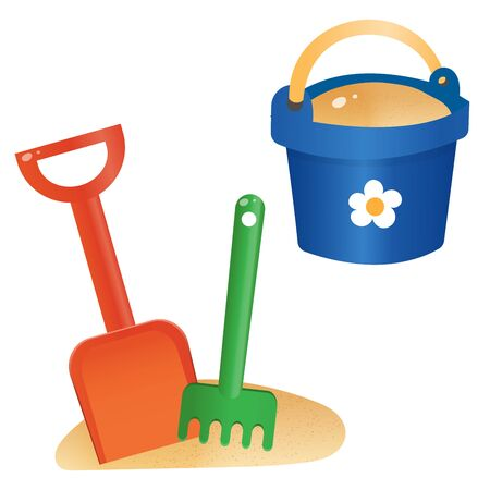 Color images of children's toy shovel with bucket on white background. Outdoors games in sandbox. Vector illustration set. Foto de archivo - 134533311