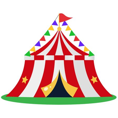 Color image of cartoon circus on white background. Show and entertainment. Vector illustration.