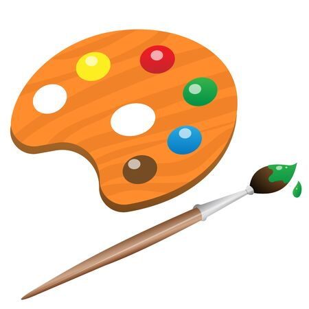 Color image of cartoon watercolor paint with brush on white background. Drawing. Vector illustration for kids.