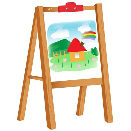 Color image of cartoon easel with children's drawing on white background. Vector illustration for kids.