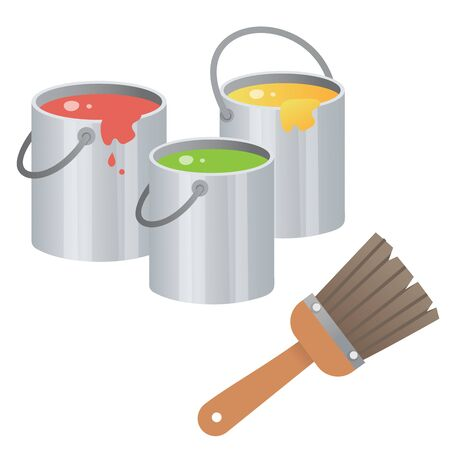 Color image of oil paint with brush on white background. Art and drawing. Vector illustration for kids.
