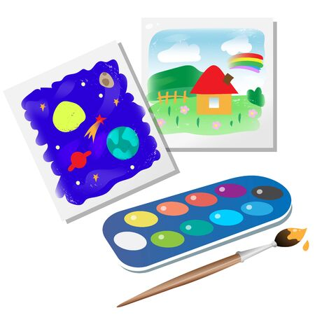 Color images of kids drawings with watercolor paint and brush on white background. Vector illustration set for children.